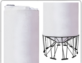 6500 GALLON SNYDER CONE BOTTOM TANK AND STAND